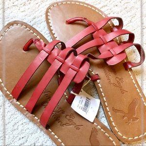 NWT American Eagle Red Summer Sandals Flip Flops